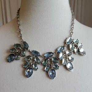 Silver Toned and Light Blue Gems Necklace